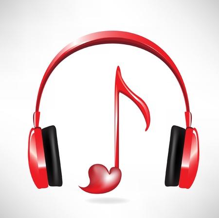 recording studio: hou van het geluid hoofdtelefoon met hartvormige key note