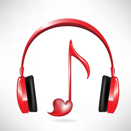 listening to music: love sound headphones with heart shaped key note