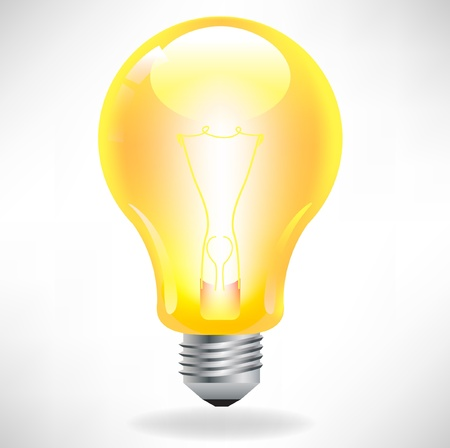 edison: yellow light bulb isolated on white