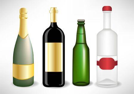 socializando: varias botellas de vidrio alcohol