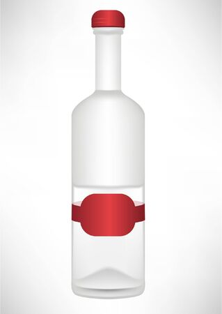 simple transparent bottle with red label Stock Vector - 10851572