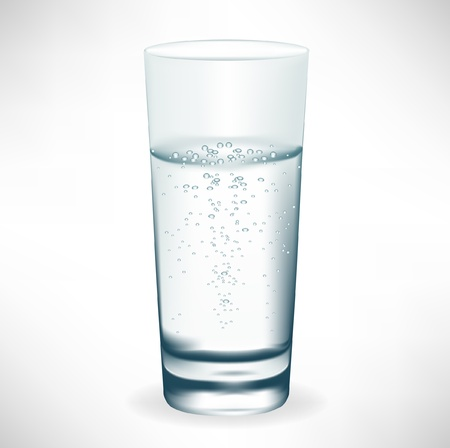 reflection  water: simple tall glass of mineral water Illustration