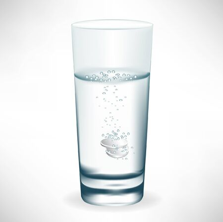 effervescent: glass of water with effervescent pill