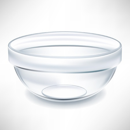 crystal bowl: simple transparent empty bowl Illustration