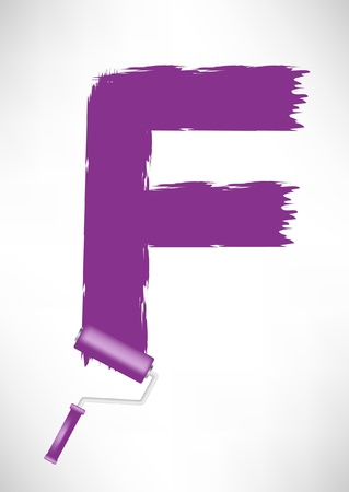typographic letter F made with roller paint tool Vector