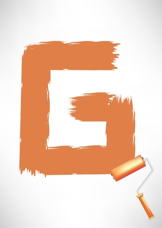 orange letter G painted with roller brush Vector