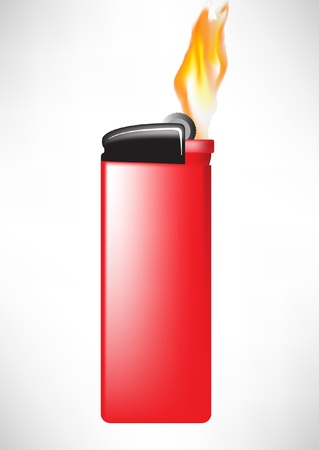 lighter: red lighter with flame isolated