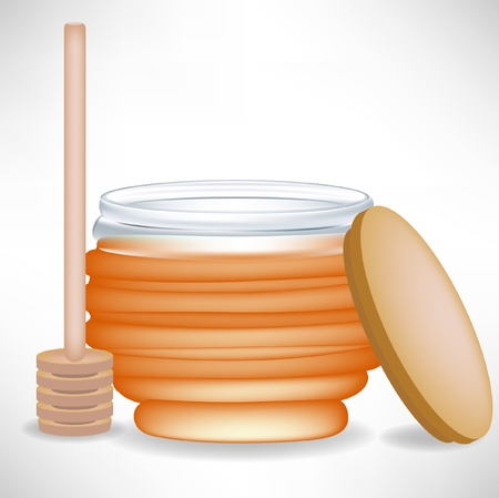 honey jar with wooden drizzle and cap Vector