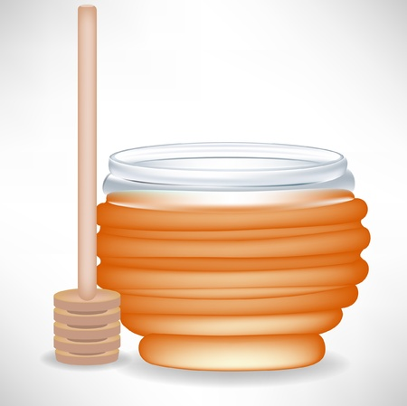 honey jar with wooden drizzle Stock Vector - 10851848