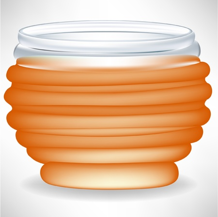 golden pot: simple honey jar isolated Illustration