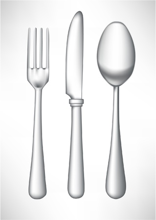 metal knife: fork, spoon and knife isolated