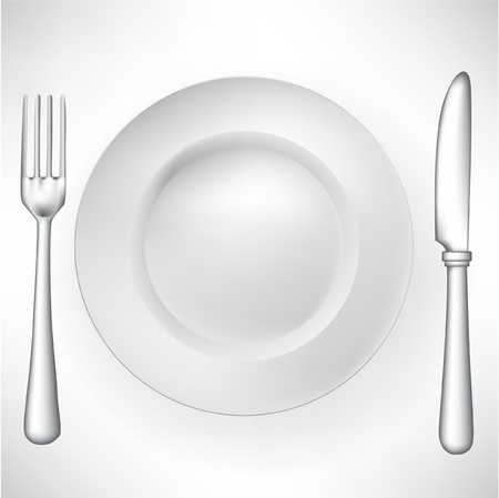 knife and fork: plate with fork and knife vector Illustration