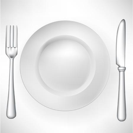 cuchara y tenedor: plato con un tenedor y un cuchillo de vectores Vectores