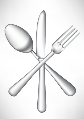 flatwares: crossed fork, knife spoon vector