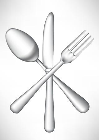 metal knife: crossed fork, knife spoon vector