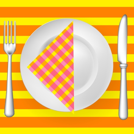 flatwares: tableware on pattern with napkin (fork, knife and plate)