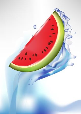 to watersplash: fresh watermelon slice in watersplash
