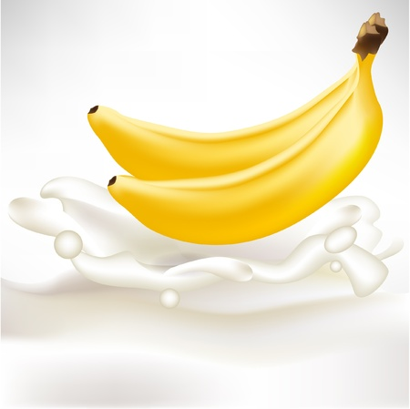 energy drink: two whole bananas in cream splash Illustration