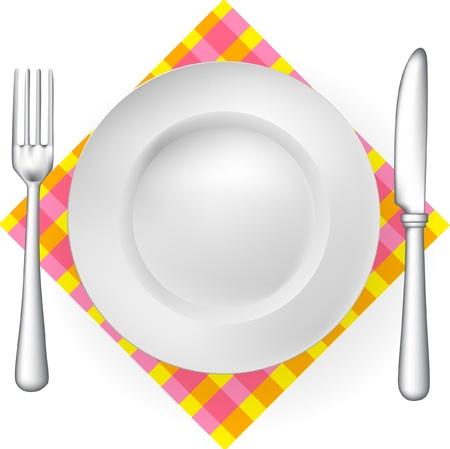 cuchillo y tenedor: servicios de mesa (tenedor, cuchillo, plato) con una servilleta aislados