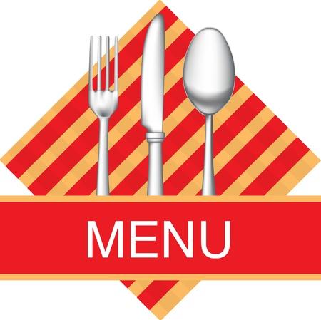 cuchara: icono de men� de restaurante con tenedor, cuchillo y cuchara Vectores