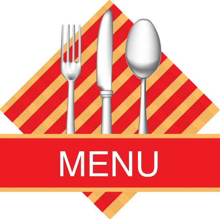 restaurant menu icon with fork, knife and spoon Stock Vector - 10851583