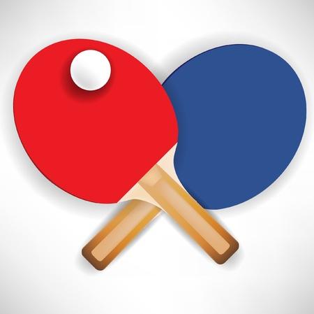 ping pong: cruzaron cohetes de ping pong con pelota Vectores