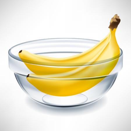 bananen in een doorzichtige kom geïsoleerd