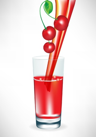 fresh cherry juice pouring in glass Stock Vector - 10851860