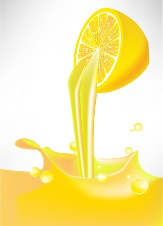 fresh lemon juice splash pouring from fruit Stock Vector - 10852247