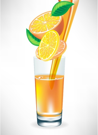 oranges: orange juice pouring in glass with fruit slices Illustration