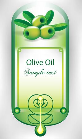 olive oil label with olives and drop Vector