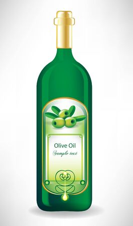 olive oil bottle: olive oil glass bottle with label with drop