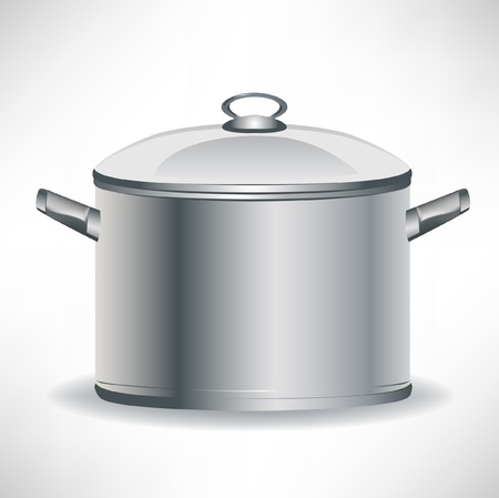 deep cooking pan isolated on white Vector