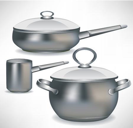 stainless steel kitchen: set of pans and simple pot isolated
