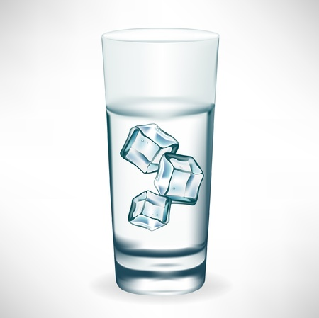 fizzy water: glass with water and ice Illustration