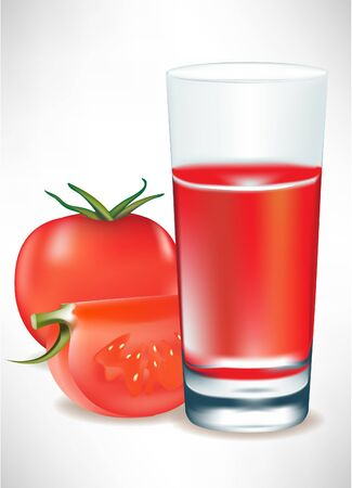 tomatoes and tomato juice in glass Vector