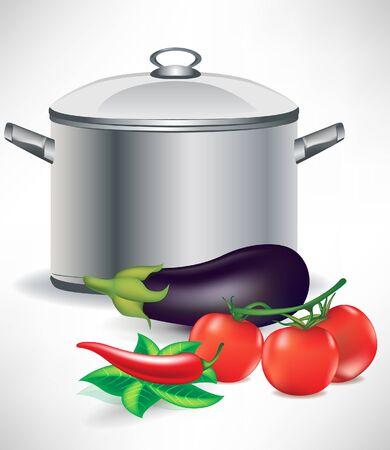 sopa: ingredientes vegetales y sopa de olla Vectores