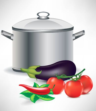 vegetable ingredients and soup pot Vector