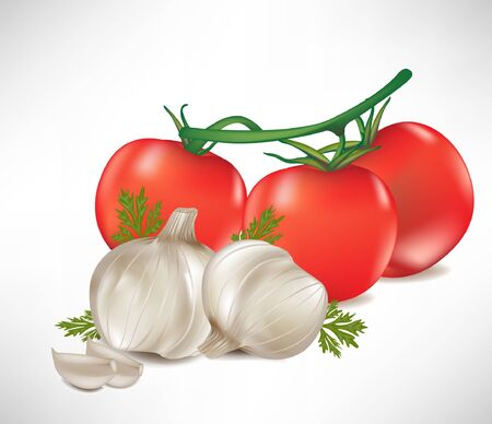 garlic with cloves and tomato bunch isolated