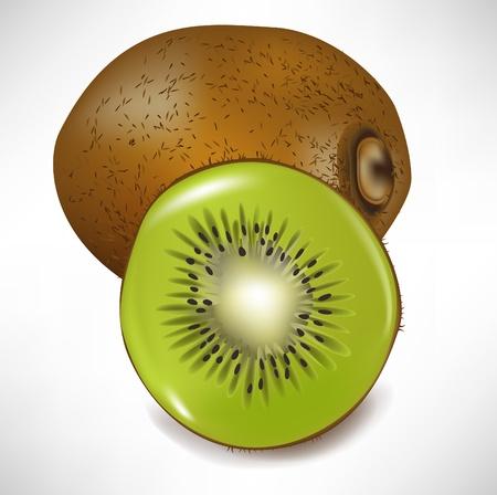 kiwi fruit: el kiwi fruta entera y cortar en rodajas aislados Vectores