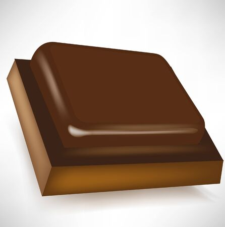 single chocolate piece in perspective isolated Stock Vector - 10886636