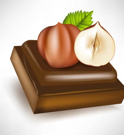 melting: chocolate piece with hazelnuts isolated Illustration