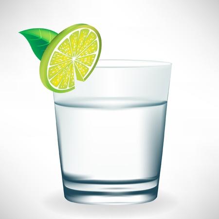 soda splash: glass of water with lemon slice