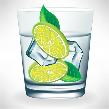 lemon water: glass of water with ice and lemon Illustration