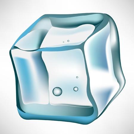 cubos de hielo: cubito de hielo simples aislados en blanco Vectores