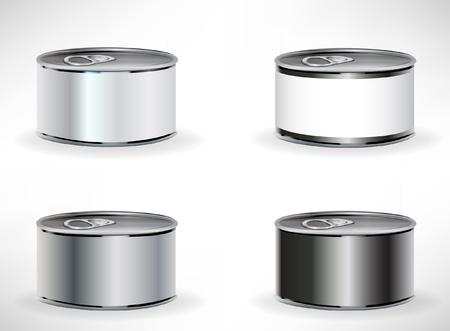 atun: cuatro latas de comida aislados en blanco