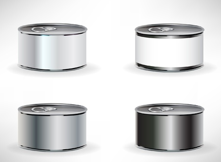 quatre boîtes de conserve isolé sur blanc Vecteurs
