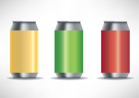 three colored: three colored beverage aluminum cans