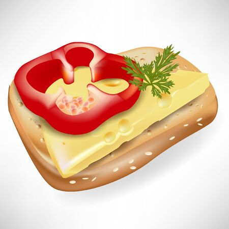 slice of bread with pepper and cheese Vector