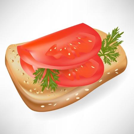 bagel: tomaat op geïsoleerde sneetje brood